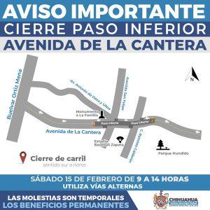 Realizarán trabajos de mantenimiento vial en avenida de la Cantera