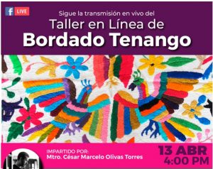 No te pierdas hoy el taller de bordado Tenango online