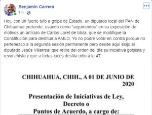 Iniciativa del PAN para destituir a AMLO es estrategia «golpista, revancha que destila odio»: Carrera