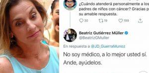 «No soy médico», responde Beatriz Gutiérrez a pregunta sobre padres de niños con cáncer