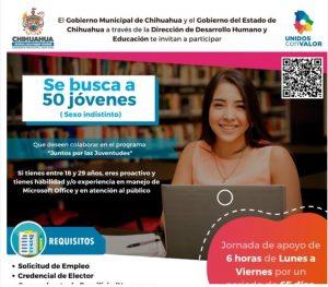 Solicita Gobierno Municipal 50 jóvenes para jornada de Empleo Temporal