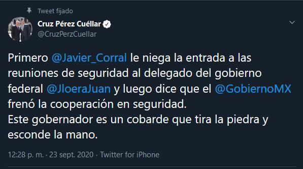 """""""Corral es un cobarde, tira la piedra y esconde la mano"""": Pérez Cuéllar ante queja de Madero por reuniones de seguridad"""