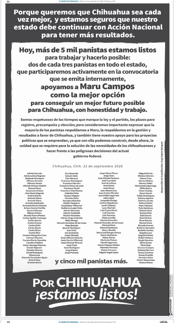 Apoyan panistas a Maru Campos rumbo al 2021