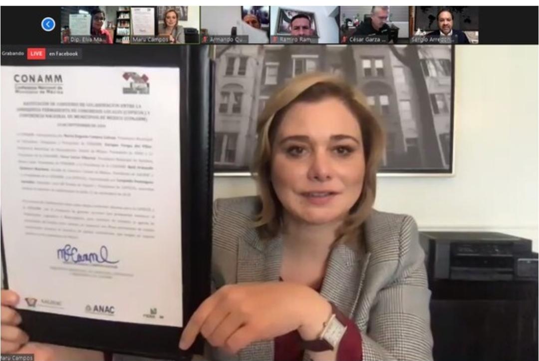 Encabeza Maru Campos renovación de convenio entre Municipios y Legisladores