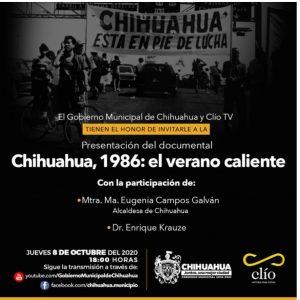 """Invitan a presentación en línea del documental """"Chihuahua, 1986: el verano caliente"""""""