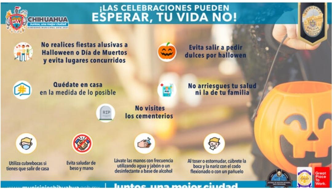Pide Seguridad Pública evitar salir de casa a pedir dulces por Halloween