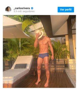 Presume Carlos Rivera su musculatura en redes