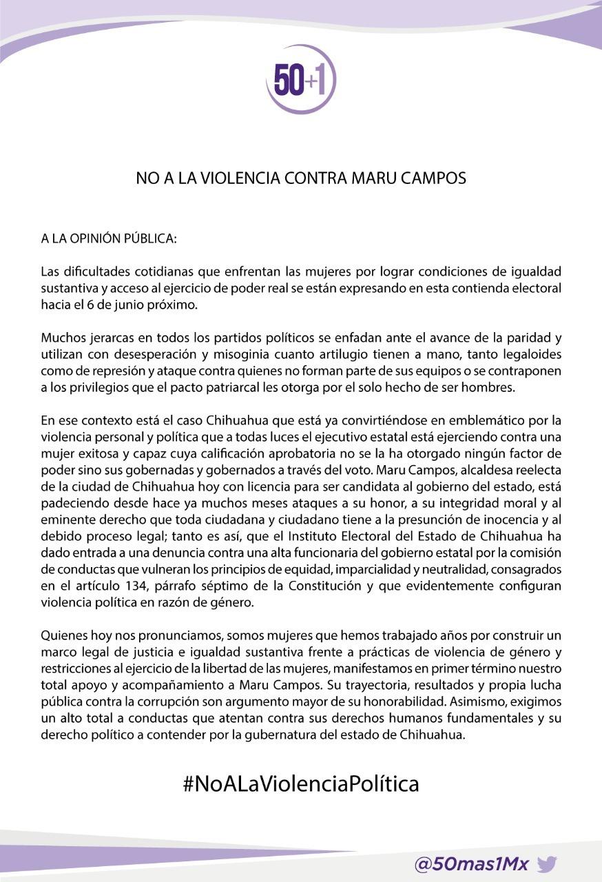 Condena colectivo nacional 50+1 la violencia política contra Maru Campos