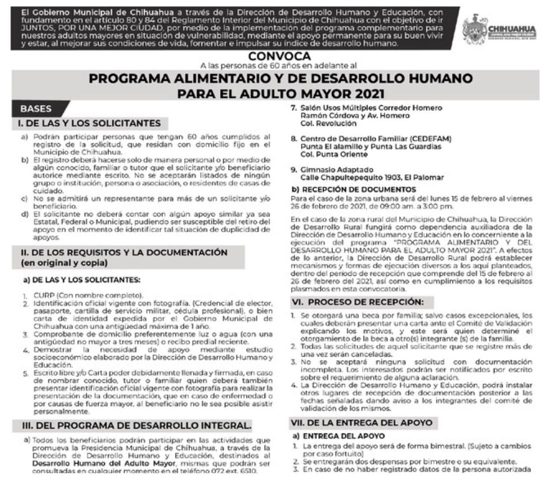 Invitan a participar en la convocatoria de Becas del Programa Alimentario del Adulto Mayor