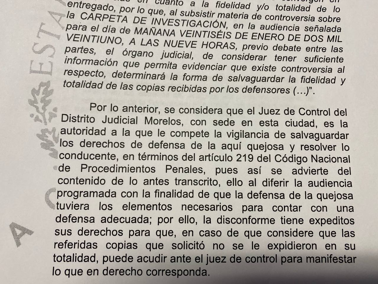 Suspensión de amparo señala que es el juez de control quien debe pedir las carpetas al MP: García Portillo