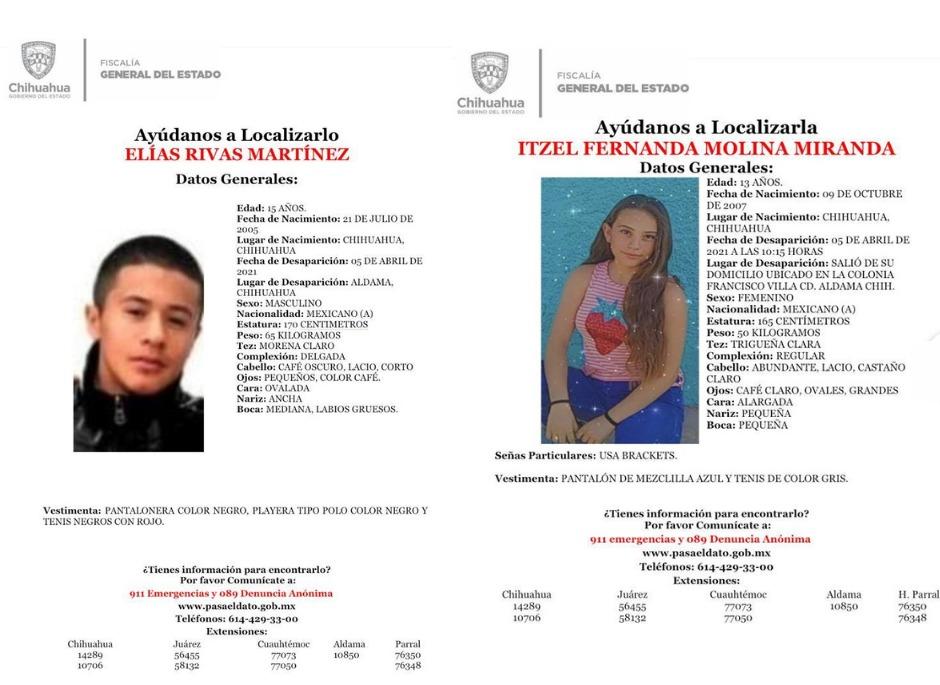 Solicita Fiscalía colaboración de la ciudadanía para localizar a menores ausentes en Aldama