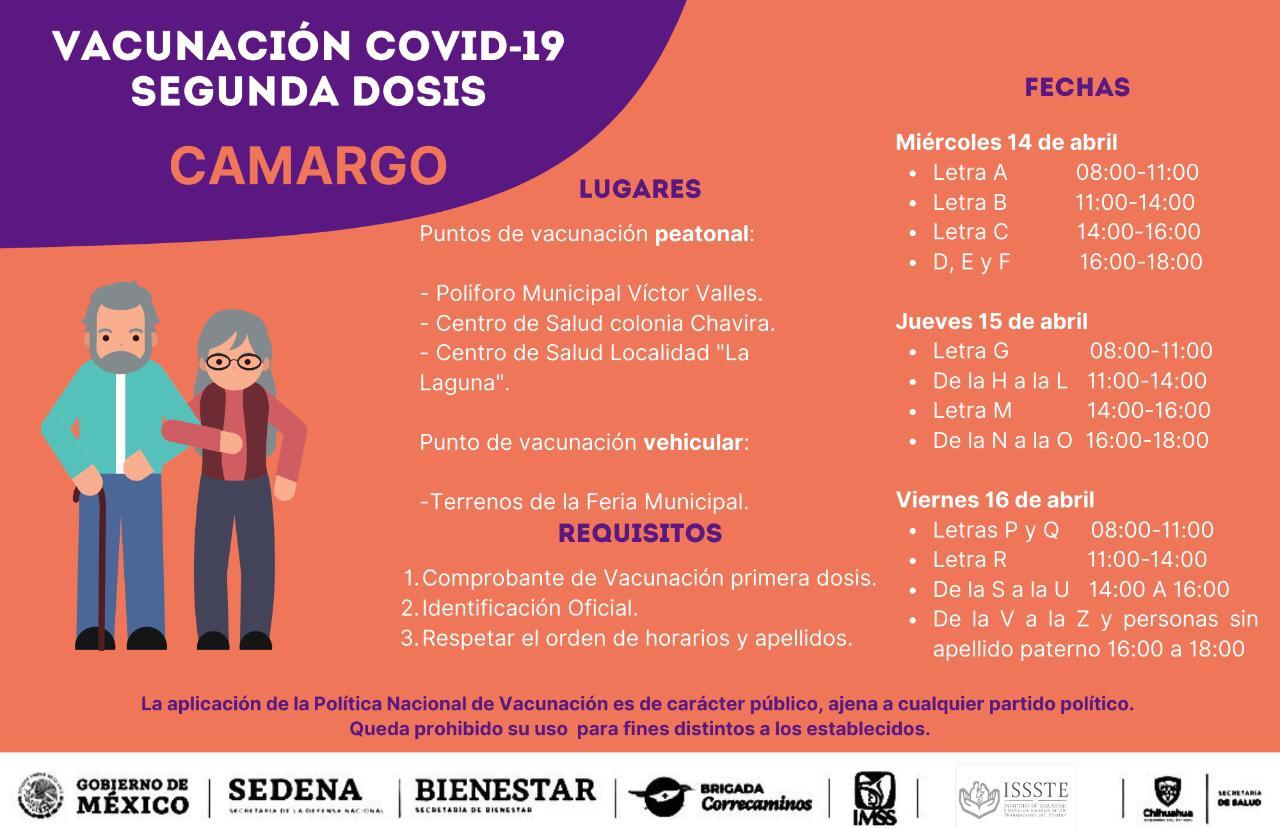Inicia la aplicación de la seguna dosis de la vacuna para adultos mayores en Camargo