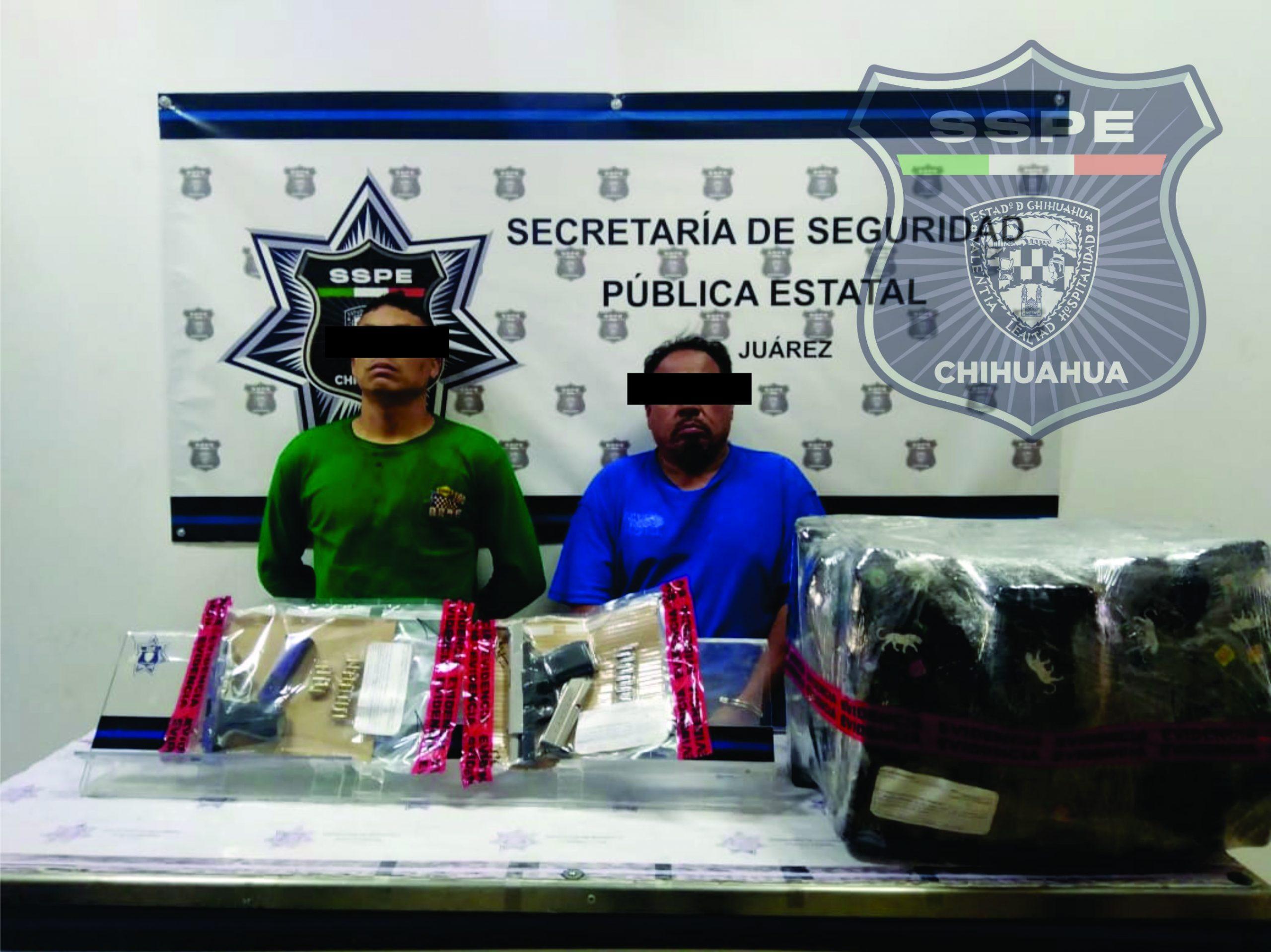 Asegura SSPE en Ciudad Juárez armas, droga y un vehículo